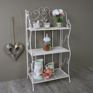 Ornate White Metal 3 Tier Floor Standing Shelving Unit