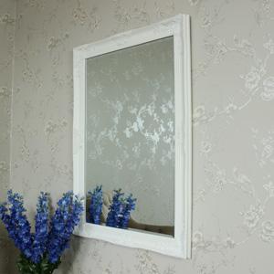 Ornate White Wall Mirror