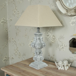 Ornate Wooden Table Lamp