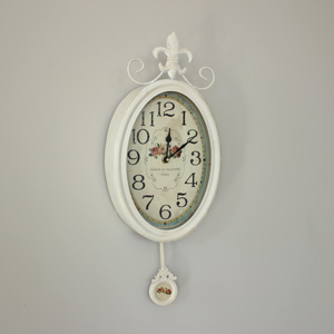 Oval Wall Clock with Pendulum