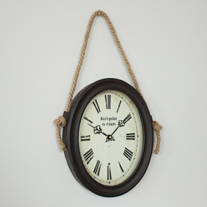 Oval Wall Clock with Rope