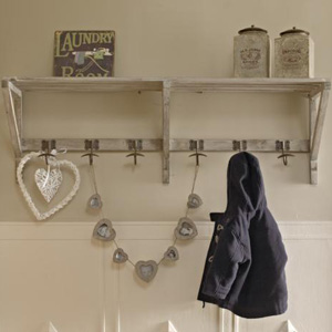 Overhead Wooden Shelf with Hooks