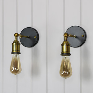 Pair of Adjustable Retro Brass Wall Lights