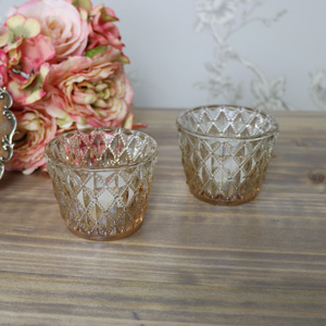 Pair of Antique Gold Vintage Cut Glass Tealight Holders