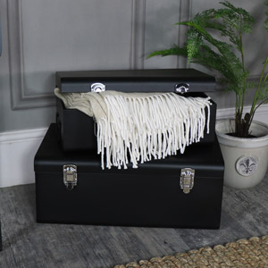 Pair of Black Metal Storage Trunks