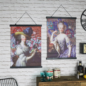 Pair of Boho Style Marie Antoinette Wall Scroll Prints