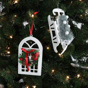 Pair Of Christmas Hanging Decorations - Sleigh and Window