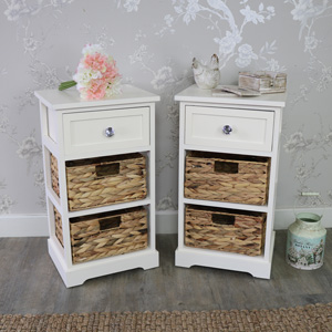 Pair Of Cream Wood & Wicker 3 Drawer Basket Storage Units - Hereford Crystal Cream Range