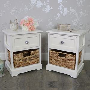 Pair Of Cream Wood & Wicker Vintage Style Basket Storage Units - Hereford Crystal Cream Range