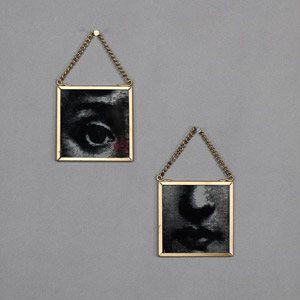 Pair of Facial Features Boudoir Glass Plaques