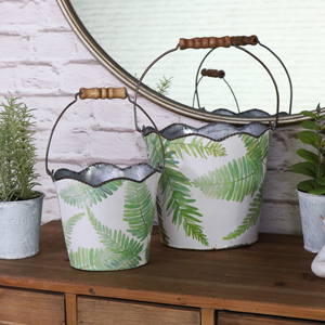 Pair of Fern Leaf Decorative Metal Buckets