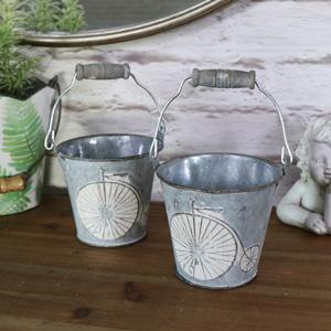 Pair of Grey Ornamental Metal Bicycle Buckets
