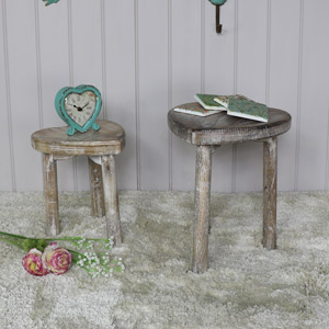 Pair of Rustic Heart Shaped Stools/Nested Table Set