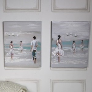 Pair of Seashore Wall Art Canvas Paintings