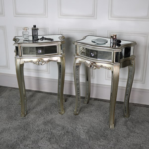 Pair of Silver Mirrored 1 Drawer Bedside Lamp Tables - Tiffany Range