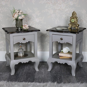 Pair of Vintage Grey Bedside Lamp Tables - Leadbury Range