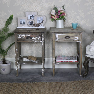 Pair of Weathered 1 Drawer Bedside/Lamp Table – Walden Range