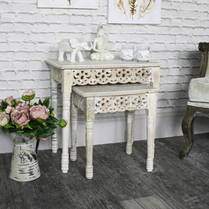 Pair of Wooden Limed Washed Carved Wooden Nested Tables