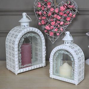 Pair Ornate White Arched Candle Lanterns