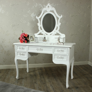 Pays Blanc Range - Antique White Dressing Table and Ornate Mirror