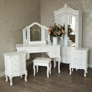 Furniture Bundle, Antique White Closet, Dressing Table, Mirror, Stool and 2 Bedside Tables - Pays Blanc Range