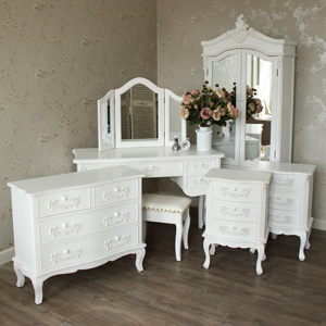 Furniture Bundle, Antique White Closet, Dressing Table, Mirror, Stool, Chest of Drawers and 2 Bedside Tables - Pays Blanc Range