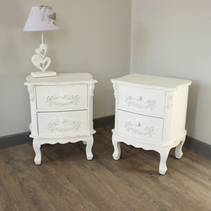 Pair of Antique White 2 Drawer Bedside Tables - Pays Blanc Range - Furniture Bundle