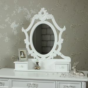 Ornate Dressing Table Vanity Swing Mirror with 2 Drawers - Pays Blanc Range