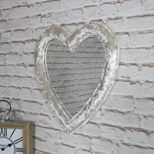 Pearl White Crushed Velvet Framed Heart Wall Mirror