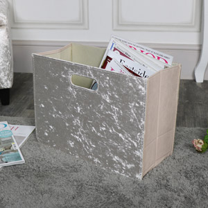 Pearl White Crushed Velvet Magazine Rack