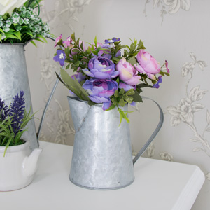 Pink and Purple Rose Bouquet in Grey Metal Jug
