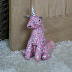 Pink Floral Fabric Unicorn Doorstop