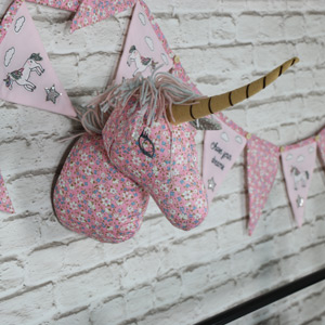 Pink Floral Fabric Wall Mounted Unicorn Head