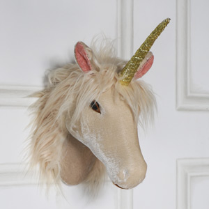 Pink Velveteen Wall Mounted Unicorn Head