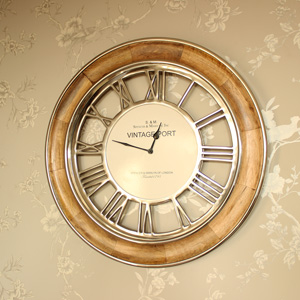 Polished Nickel & Mango Wood Wall Clock