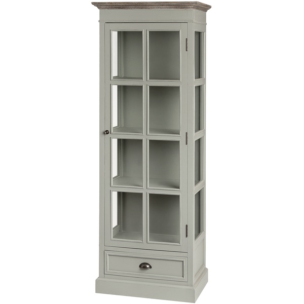 Portsmouth Grey Range - Glazed Display Cabinet With Drawer