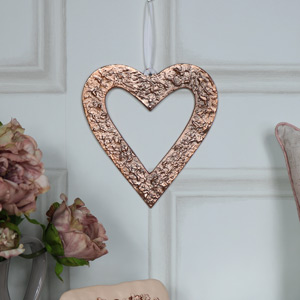 Pretty Copper Heart Hanging Decoration