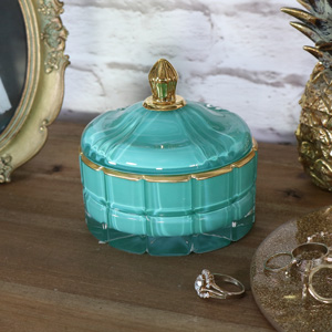 Pretty Glass Turquoise Trinket Box