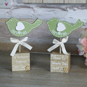 Pretty Green Bird Standing Blocks