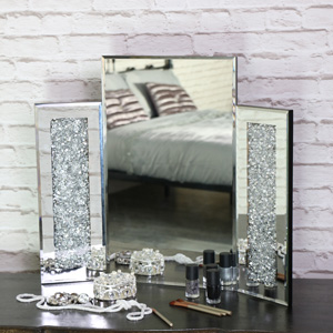 Pretty Jewel Decorated Triple Dressing Table Vanity Mirror