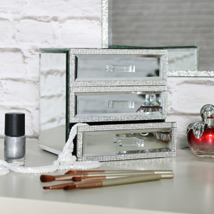 Pretty Mirrored 3 Drawer Jewellery Box
