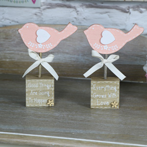 Pretty Pink Bird Standing Blocks