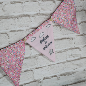 Pretty Pink Fabric Unicorn Bunting