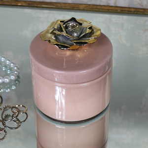 Pretty Pink & Gold Rose Boudoir Trinket Box