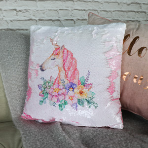 Pretty Sequined Two Tone Unicorn Scatter Cushion