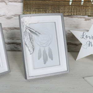 Pretty Silver Feather Photograph Frame