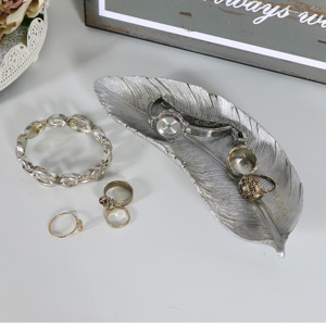 Pretty Silver Feather Trinket Dish