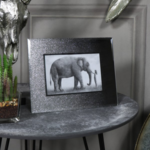 Pretty Silver Glitter Glass Photo Frame