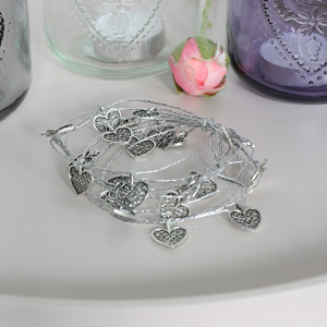 Pretty Silver Metal Filigree Heart Garland