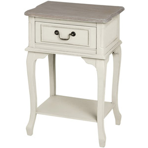 Provence Cream Range - One Drawer Bedside Table with Shelf